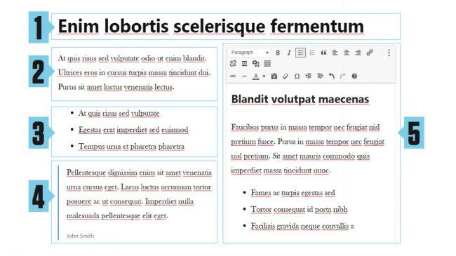 Bloques del editor Gutenberg