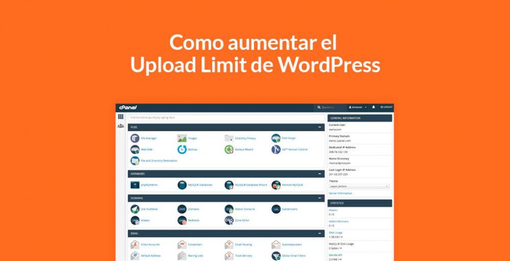 Como aumentar el Upload Limit de WordPress