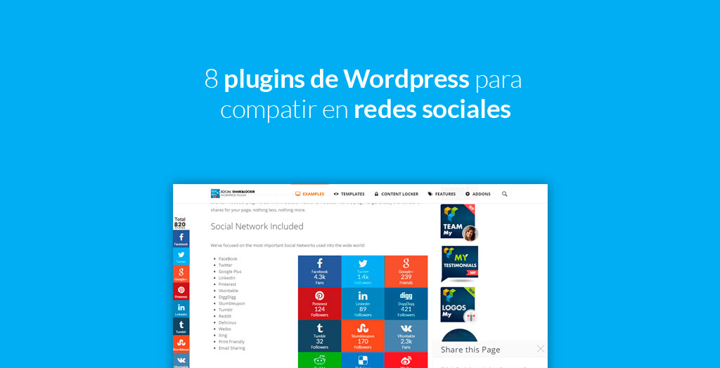 8 plugins de WordPress para compatir en redes sociales