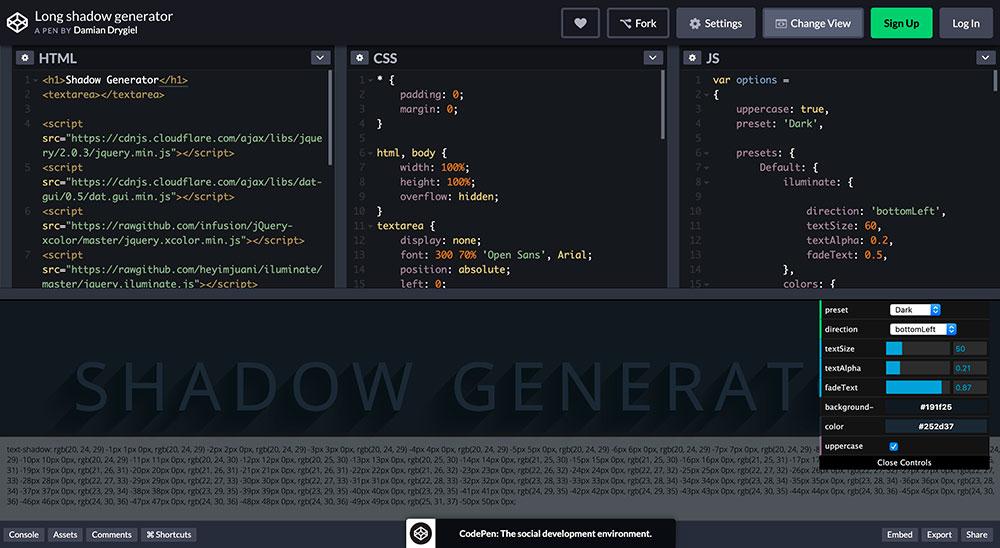 Long shadow generator (Generador gratuito para títulos)