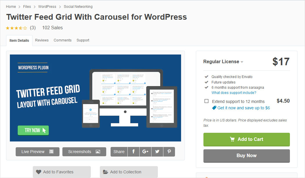 Twitter Feed Grid With Carousel for WordPress