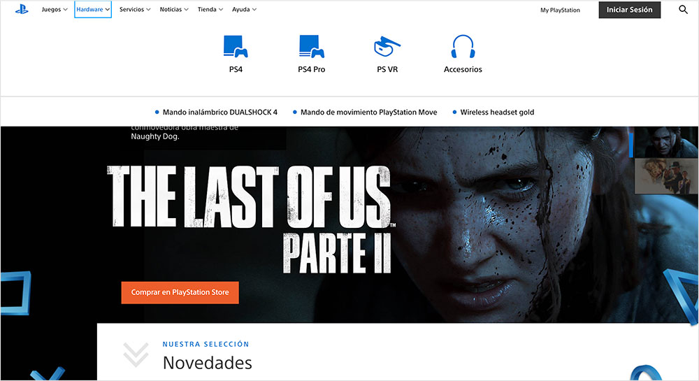 playstation menu de navegación