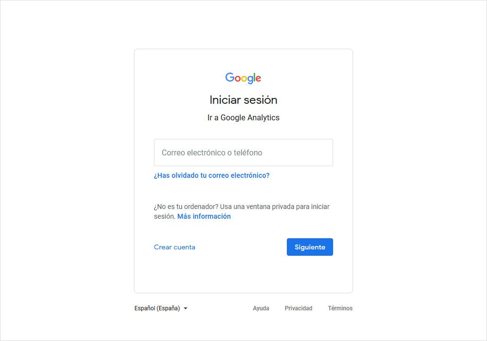 acceder con tu gmail en Google Analytics