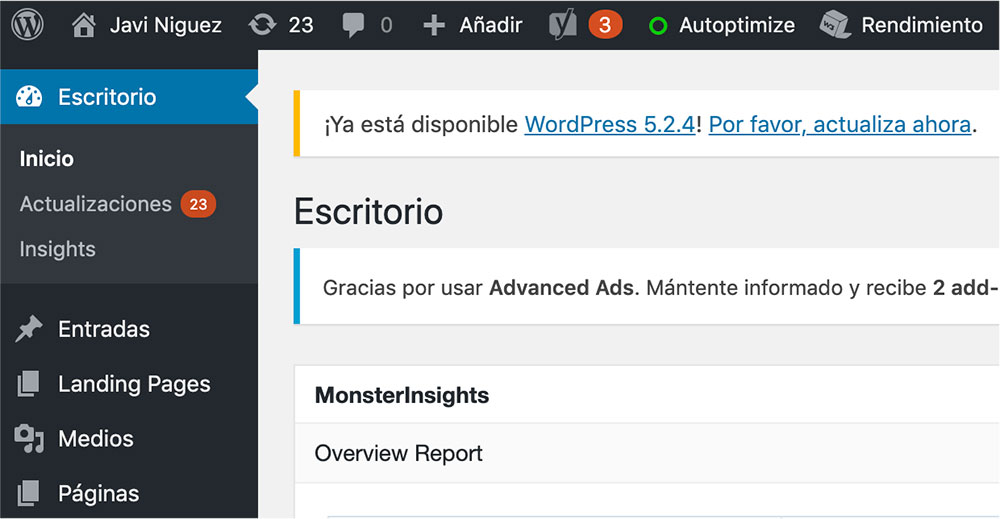 sitio de WordPress actualizado