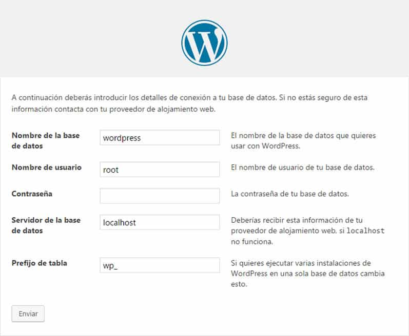 instalación local de WordPress