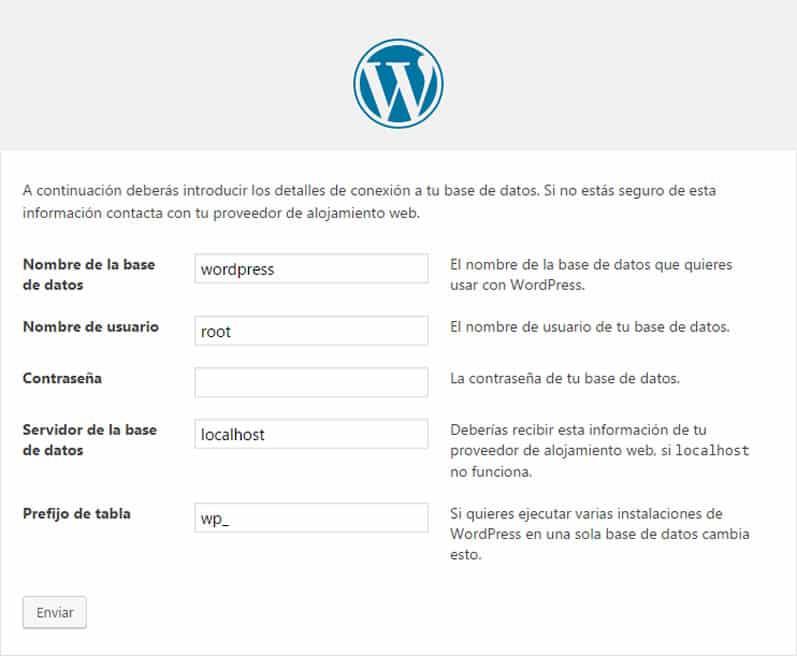 instalación local de WordPress