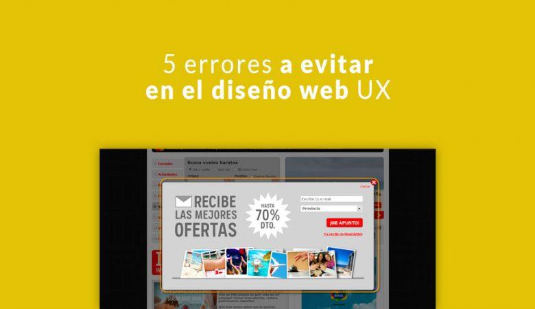 5 errores a evitar en el diseño web UX