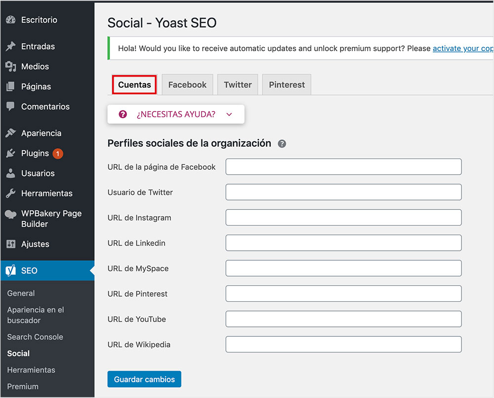 cuenta social configurar yoast seo
