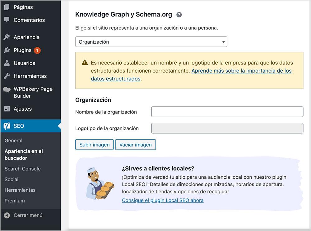 opciones de Schema.org
