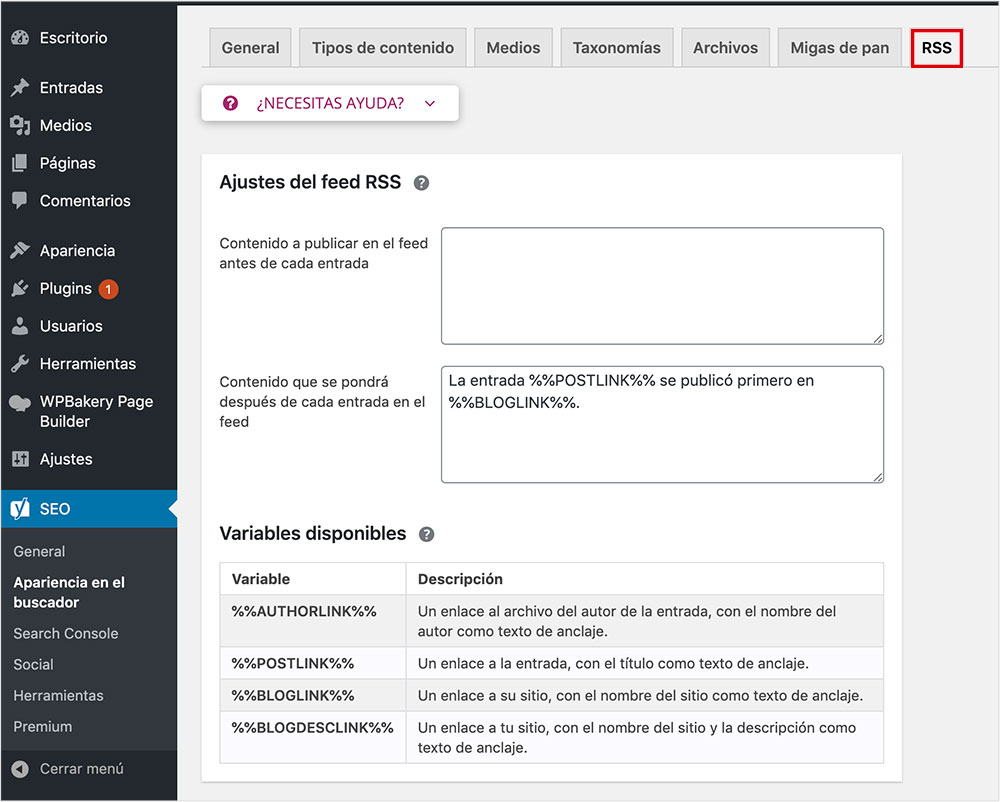Feeds RSS configurar yoast seo