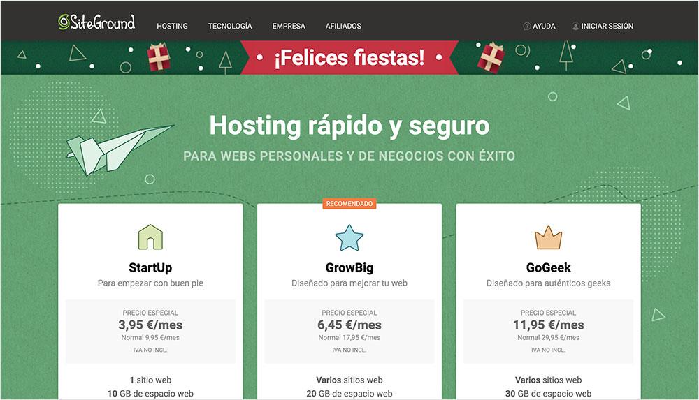 hosting compartido siteground