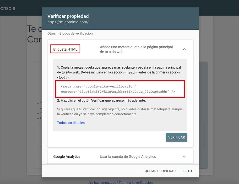 Verificar propiedad WordPress a Google Search Console