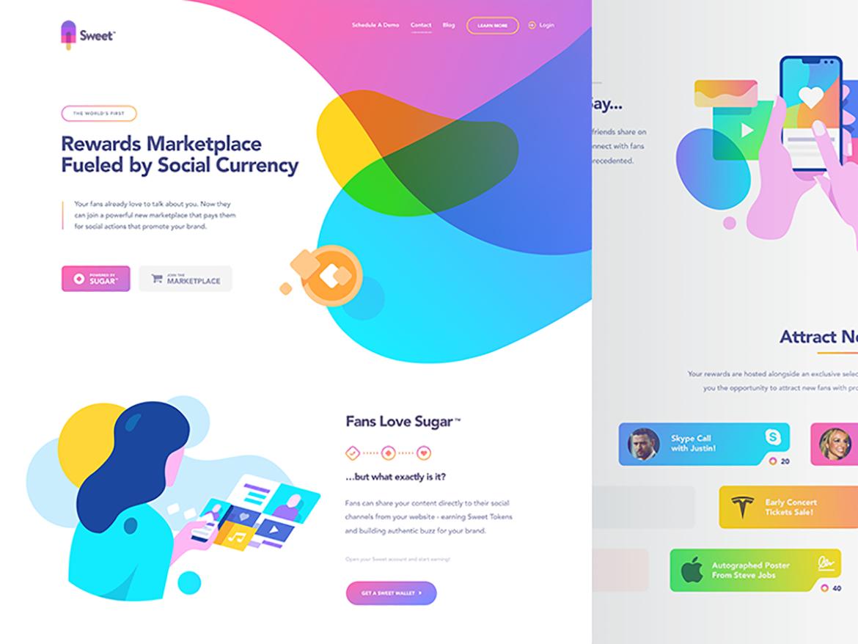 Tendencias de diseño web en 2020 ilustraciones