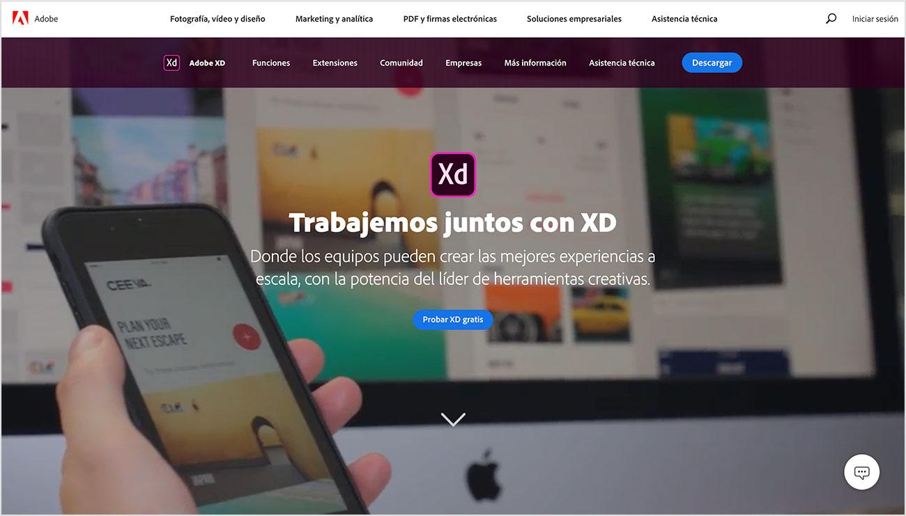 Adobe XD herramientas de diseño IU/UX