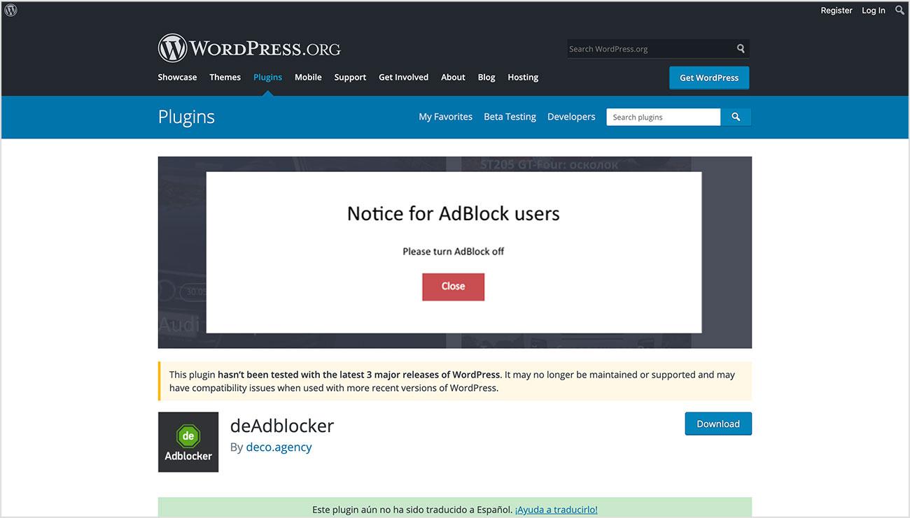 Detectar a usuarios de AdBlock con deAdblocker