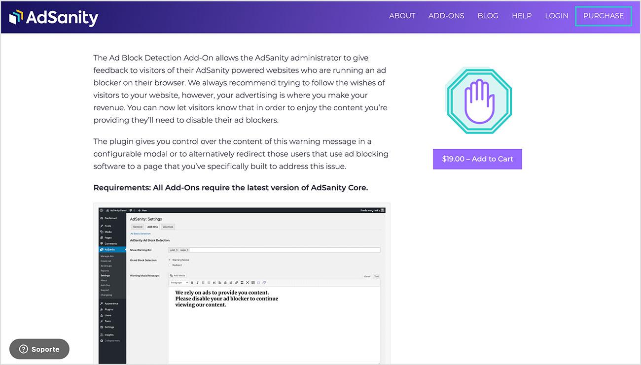 usuarios de AdBlock con el plugin AdSanity