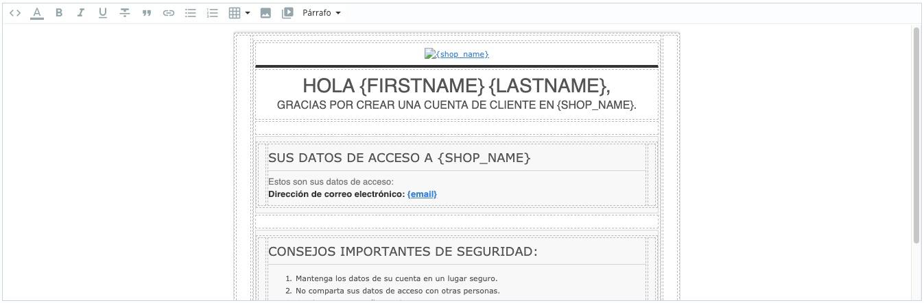 Editar plantilla correo electrónico prestashop
