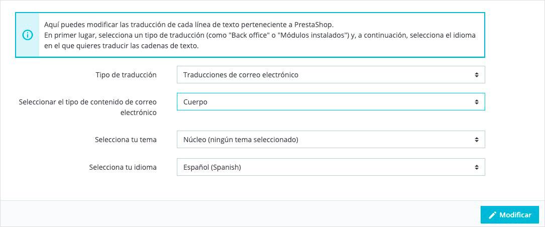 modificar editar plantillas de correo electrónico en Prestashop