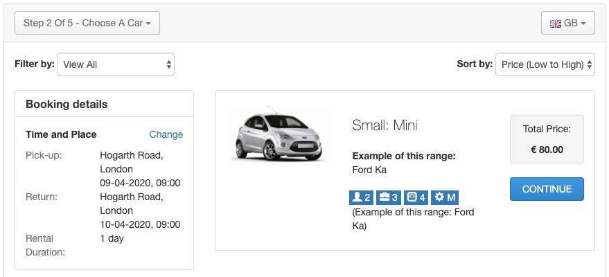 sistema de reservas de coches online