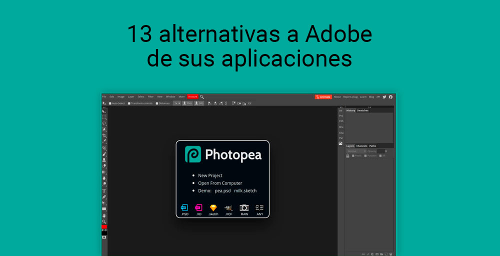 13 alternativas a adobe de sus aplicaciones
